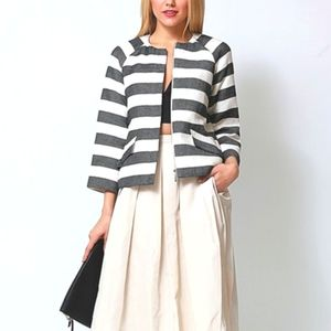 Lord & Taylor Striped Structured Cotton Blazer 8